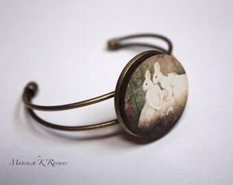 bronze bracelet, adjustable, wood, 3cm, unique cabochon!