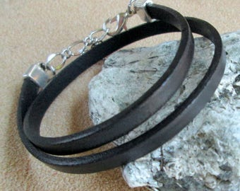 Black Leather Wrap Bracelet, Double Wrap Flat Leather Bracelet, Women's Thin Leather Black Cuff Bracelet, Boho Leather Jewelry, Gift for Her