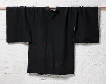 Vintage Japanese Black Silk Kimono Jacket Haori with Urushi Embroidered Floral Details