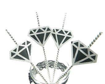 Engagement Party Straws, Wedding Straws, Black and Silver, Diamond, Diamond Straws, Engagement Party Decorations, Bachelorette Decorations