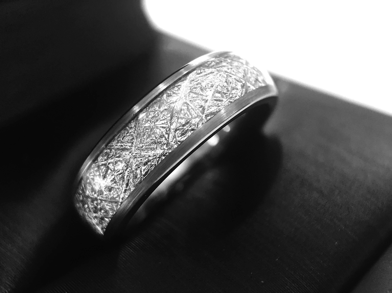 meteorite ring meteorite tungsten wedding band men women