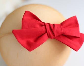 Nylon baby headband, red bow headband, baby girl headband, tied bow headband, big bow