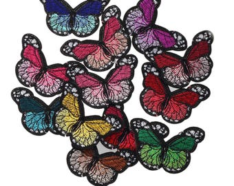 12 x Embroidered Butterflies Iron on Applique Motif