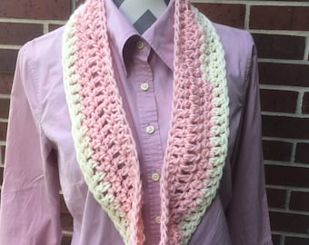 Baby Wool Infinity Scarf, Two-tone pink white