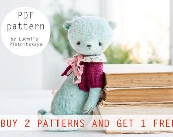 OOAK Artists Teddy Bear pattern, teddy pattern, teddy bear, soft toy pattern, plush bear, 7.5 inches