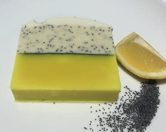 Lemon Poppy Seed homemade natural cold process soap