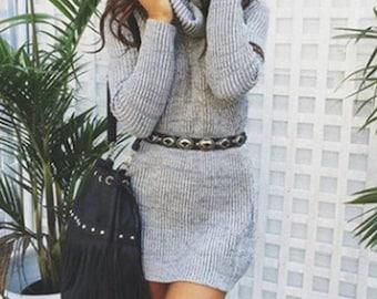 Knitted Turtleneck Long Sleeve Winter Dress