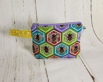 Hexagon Bees Notions Pouch, Mini Zippered Wedge Bag, Knitting Notions Pouch, Craft Pouch NP00022