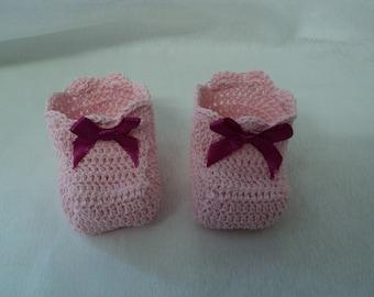 Pair of booties, birth, baptism keepsake gift, pink