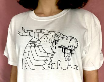 DRAGON T-Shirt - original art and modeled by emily burke - available for the very first time !!