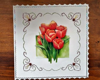 Bouquet of tulips - hand made 3D card
