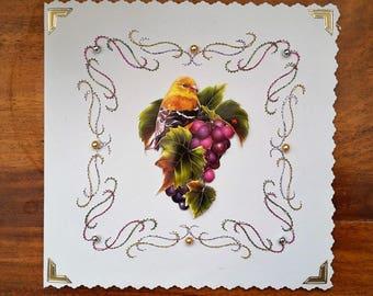 Bird and bunch of grapes - made 3D handmade card