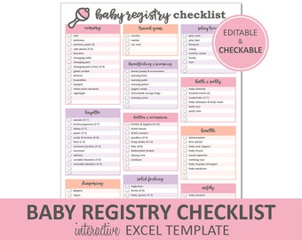 Baby Registry Checklist - Editable Pink - Printable | Excel Baby Registry Template | Baby Shower Gift Registry | Instant Digital Download