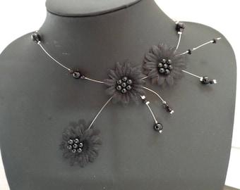 Black Flower necklace Pearl wedding set
