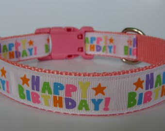 Happy Birthday Party Dog Collar - Pink - Ready to Ship!