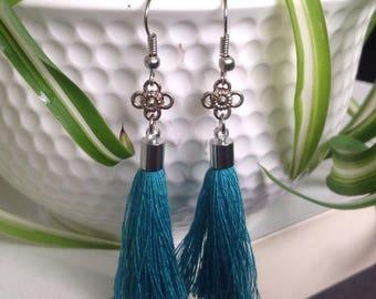 SARA - Turquoise tassel earrings