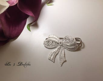 Train lace white wedding bow tie brooch * 3 lace *.