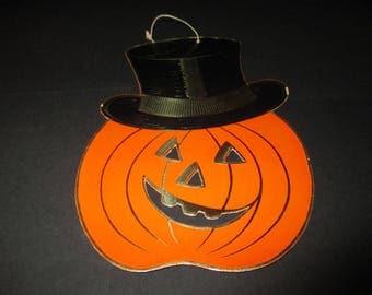Vintage Halloween Pumpkin Die Cut, JOL with Top Hat, Gold Foil Trim, 1950's, Hanging Pumpkin