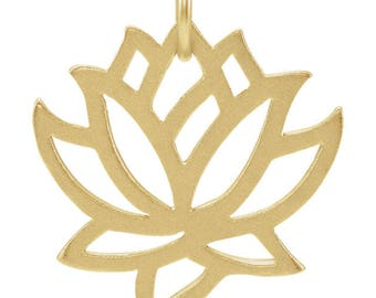 24K Gold Over Sterling Silver Lotus Flower Charm Pendant for Your Own Charm Bracelet or Necklace