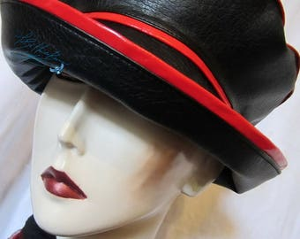 rain hat to order, black and red, chic days rain hat, woman headgear, spring rain