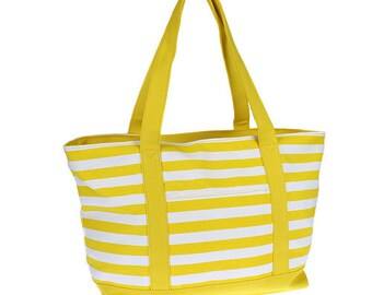 Yellow striped canvas tote