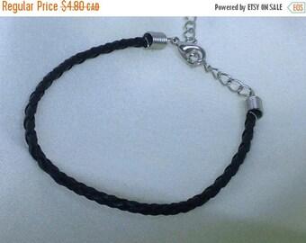 Clearance sale Black Leather Braided Bracelet , men , women, teens, simple , clean, wrist, gift