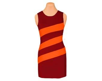 Orange + Maroon Diagonal Stripe Dress
