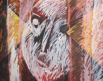 1986 European art oil painting abstract expressionism signed