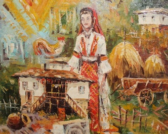 Vintage oil painting village woman in folk costume