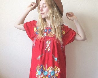 Nutshell Vintage 70s Boho Embroidered Smock Dress