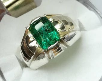 Natural Emerald Ring Dark Green beryl