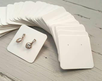 100 kraft jewelry display cards WHITE 5x5cm