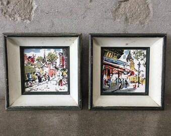 Pair of Hand Painted Art Tiles Signed Poche Paris (VFC2EV)