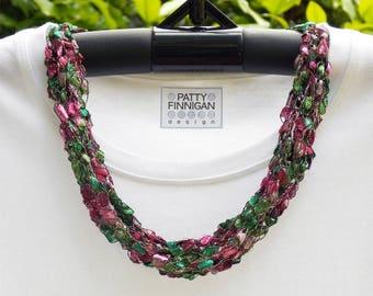 Crochet Ladder (Trellis) Yarn Necklace, Rose & Jade Sparkle