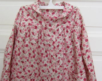 cotton girl blouse pink flowers