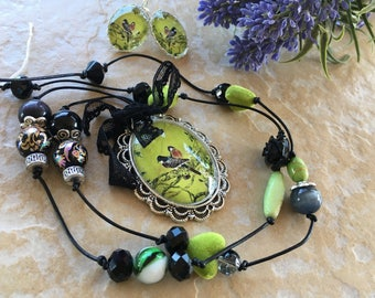 romantic black and lime green set