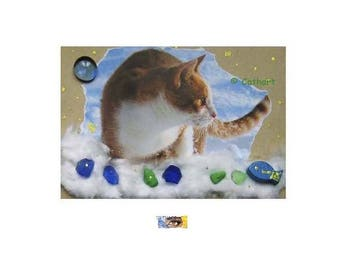 "Map art ""Cat in the snow"" ice photo composition and collages cotton and stones"