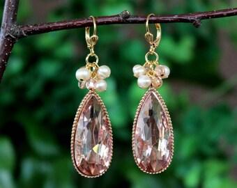 Blush Rose Gold Cluster Earrings.Freshwater Pearl.Jeweled.Statement.Bridal.Wedding.Formal.Long Earrings.Vintage.Luxury.Bold.Gift.Handmade.
