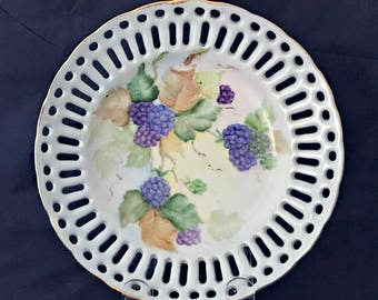 Vintage Hand Painted Pierced China Plate with Blackberries Blue Purple Green
