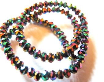 25 LOPHO IRIDESCENT BLACK CRYSTAL ROUND BEADS HAS 4 MM