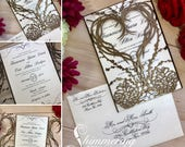 laser cut pinecone heart winter wedding invitation gatefold heart grapevine wreath and berries fall rustic forest