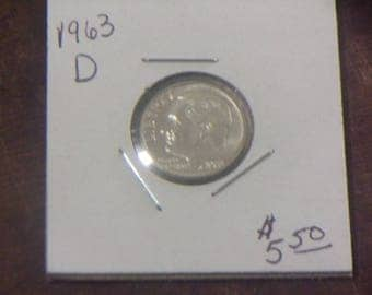 1963-D Uncirculated Silver Roosevelt Dime