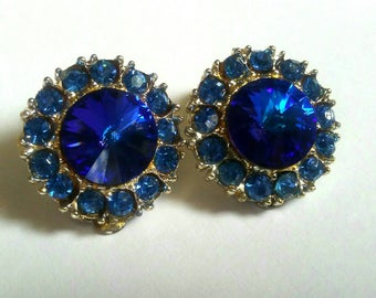 Royal blue Crystal Earrings gold Tone rhinestone button Rivoli Stone clip on earrings jewelry round blue earrings Jewellery Vintage earrings
