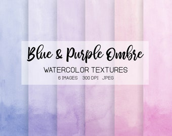 Watercolor Ombre Digital Paper. Handpainted Blue, Lavender Watercolor Textures. Pink, Purple Watercolor Wedding Invitations, Greeting Cards