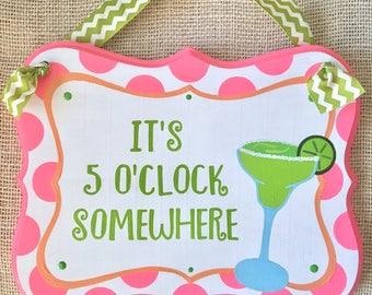 margarita sign - happy hour - its 5 o'clock somewhere
