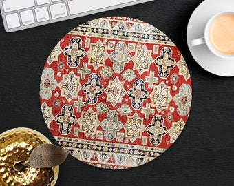 Mouse Pad Classic Red Rug Mouse Mat Persian Carpet MousePad Desk Accessories Mouse Pad Round Mouse Mat Persian Rug Mouse Pad Office Gift