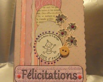 """Card """"Congratulations"""" girl theme"""