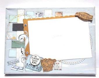 """Canvas: frame canvas photo scrappee """"to eat"""" blue"""