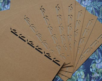 Set of 8 cards and envelopes bamboo 13x13cm kraft paper