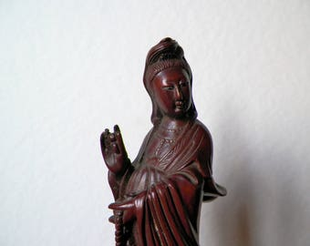 """old Statuette of Guanyin """"Kuan Yn old rosewood, China 1930s"""